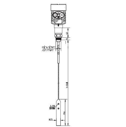 缆式导波雷达物位计外型尺寸图